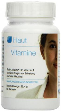 Vihado Haut Vitamine, Biotin, Vitamin B2, Vitamin A und Zink, 60 Kapseln, 1er Pack (1 x 26,4 g) - 1
